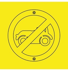 prohibited traffic sign car round icon design vector image