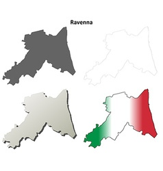 Ravenna blank detailed outline map set vector image