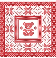 Scandinavian Nordic winter cross stitch knitting vector image