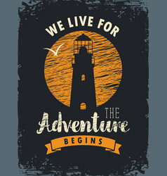 travel banner with lighthouse and inscription vector image vector image