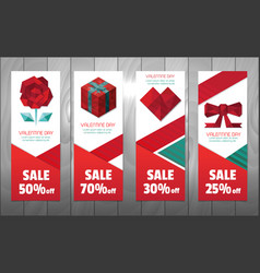 valentine polygon elements banner vector image
