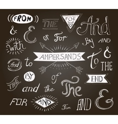 Vintage hand lettered ampersands and catchwords vector image vector image