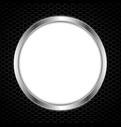 White circle board with abstract metal texture vector
