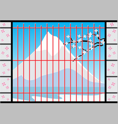 Window of japan house with fuji mountain view vector