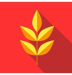Yellow leaves on a branch icon flat style vector