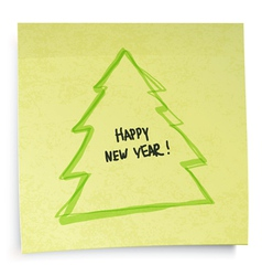 yellow sticky note new year concept vector image vector image