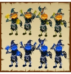 Zombies in rags with head pumpkin and magical hat vector image