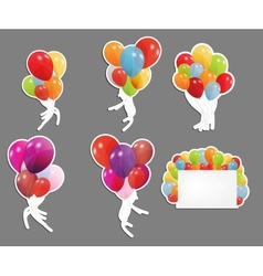 Set of labels with colored ballons vector