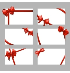 Gift cards with bows set vector