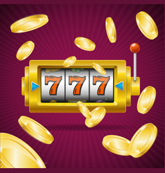 Casino concept slot machine and golden coin vector