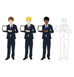 business man presentation tablet vector image