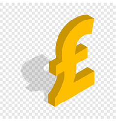 Sign of pound sterling isometric icon vector