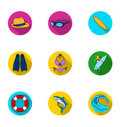 a collection of pictures on the theme of the beach vector image