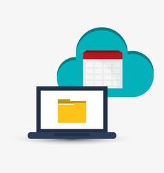laptop folder cloud information work vector image