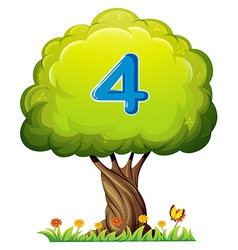 A tree with a number four figure vector image
