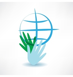 Blue globe in hands icon vector