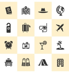 Set of black travel and tourism icons vector