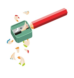 Pencil sharpener and colored pencil on white back vector