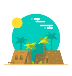 Flat design of beach bungalows vector