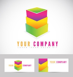 Colored abstract box stack logo vector