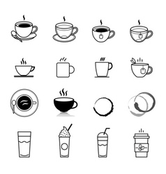 Coffee line icons set vector