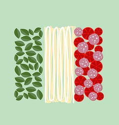 Italy flag of ingredients of food basil pasta and vector
