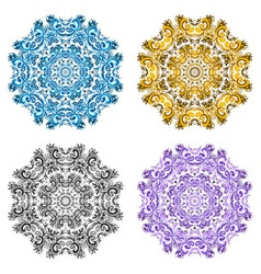 Set from four round ornament vector