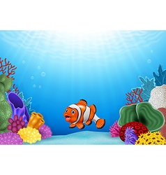 Cute clown fish with coral reef underwater vector