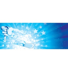 snowboarder with stars vector image