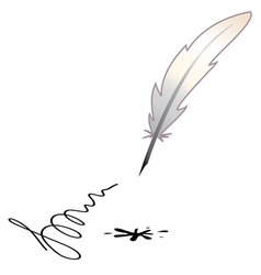 A feather and a black blotch vector