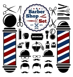 Barber shop accessories set with vector