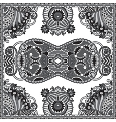 Black and white authentic silk neck scarf or vector