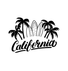 California hand written lettering with palms and vector image vector image