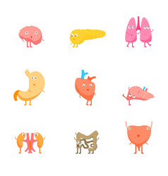 cartoon internal organs funny emotions set vector image
