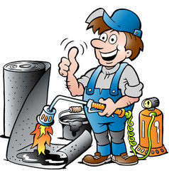 Cartoon of a happy working roofer giving thumb up vector