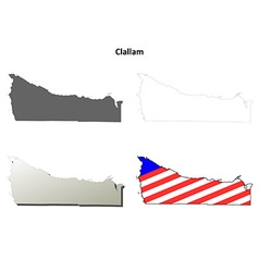 Clallam map icon set vector