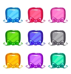 Cute colorful cartoon square buttons set vector image vector image
