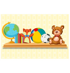 Doll and ball on wooden shelf vector