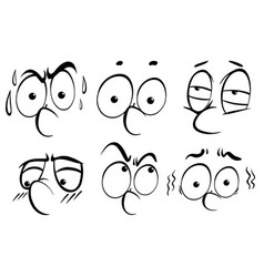 Facial expression doodle in black outline vector