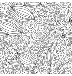 Floral seamless pattern Black and white doodle vector image