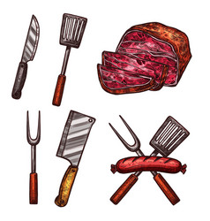 Grill meat sausages cutlery sketch icons vector