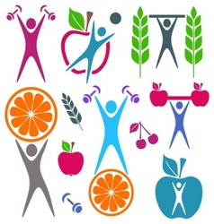 Health and food icons vector