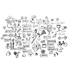 Health doodles healthy elements isolated on white vector
