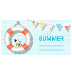 hello summer background with lifebuoy vector image vector image
