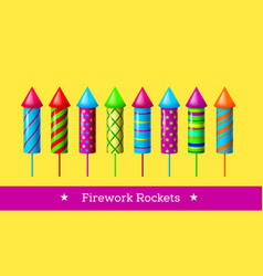 Holiday firework set of colorful rockets vector