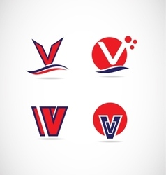 Letter v logo red blue vector