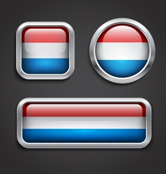 Luxemburg flag glass buttons vector image vector image