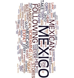 Mexico expat quiz text background word cloud vector