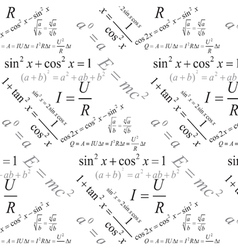 Physics formulas seamless pattern vector