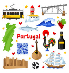 portugal icons set portuguese national vector image vector image